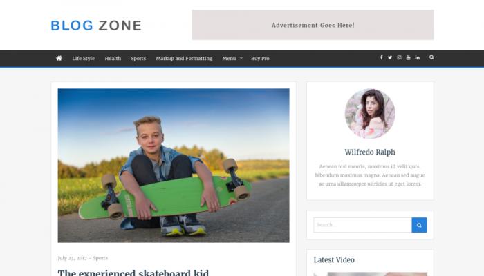 پیش نمایش دسکتاپ قالب وردپرس Blog Zone