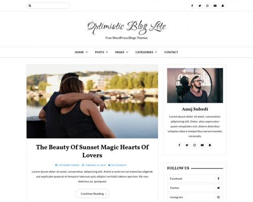 دانلود رایگان قالب وردپرس Optimistic Blog Lite