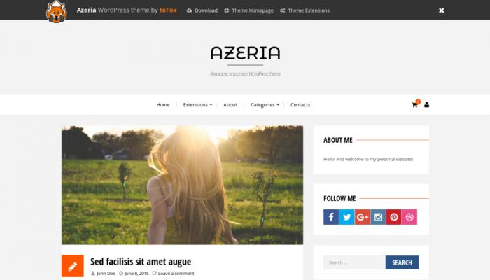 پیش نمایش دسکتاپ قالب وردپرس Azeria