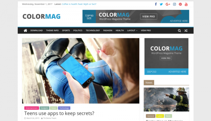 پیش نمایش دسکتاپ قالب وردپرس ColorMag