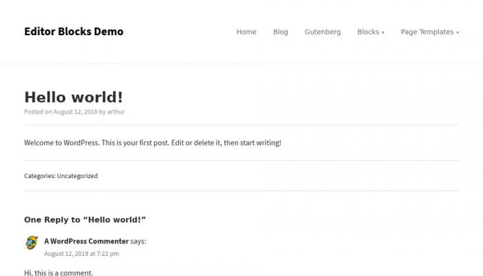 پیش نمایش دسکتاپ قالب وردپرس Editor Blocks