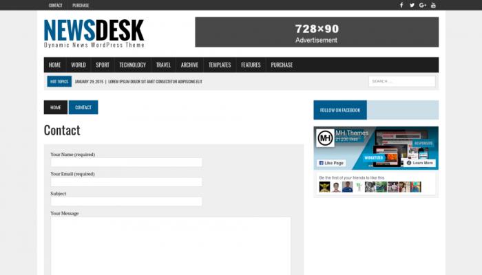 پیش نمایش دسکتاپ قالب وردپرس MH Newsdesk Lite