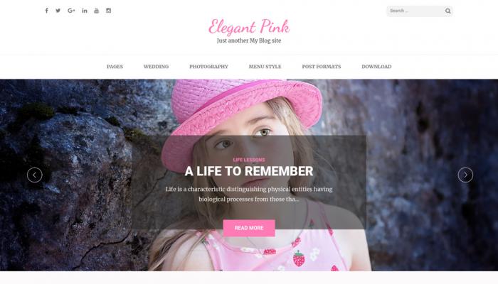 پیش نمایش دسکتاپ قالب وردپرس Elegant Pink