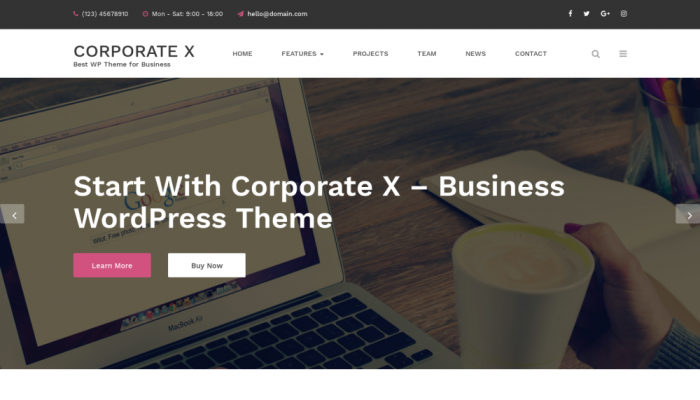 پیش نمایش دسکتاپ قالب وردپرس Corporate X