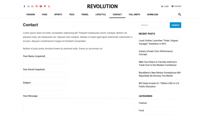 پیش نمایش دسکتاپ قالب وردپرس Revolution