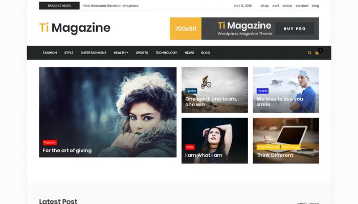 پیش نمایش دسکتاپ قالب وردپرس Ti Magazine