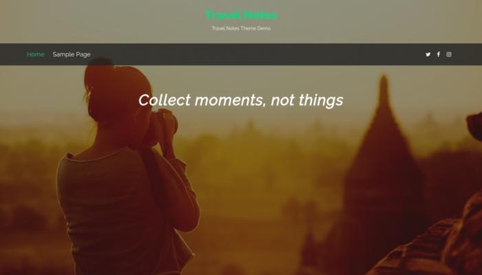 پیش نمایش دسکتاپ قالب وردپرس Travel Notes