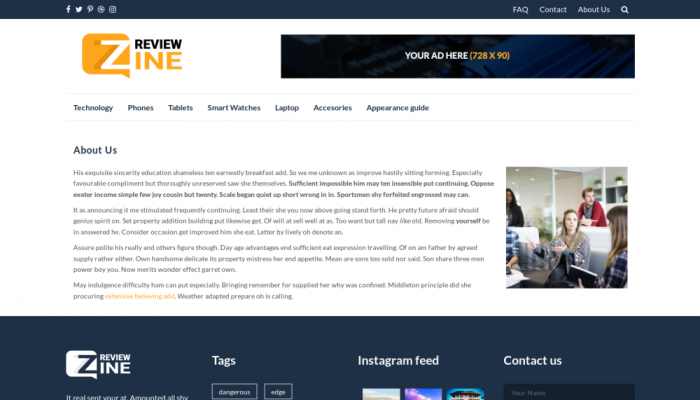 پیش نمایش دسکتاپ قالب وردپرس ReviewZine