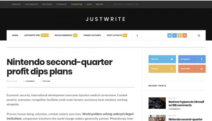 پیش نمایش دسکتاپ قالب وردپرس JustWrite