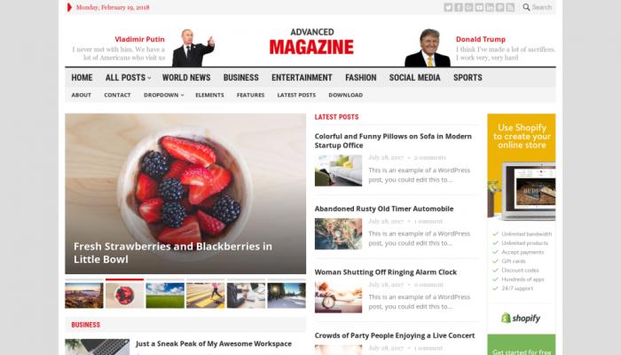 پیش نمایش دسکتاپ قالب وردپرس Advanced Magazine