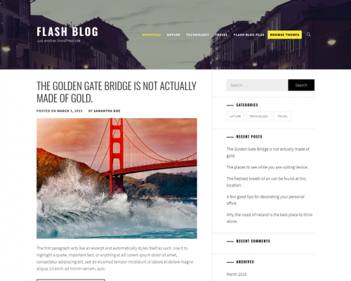 دانلود رایگان قالب وردپرس Flash Blog
