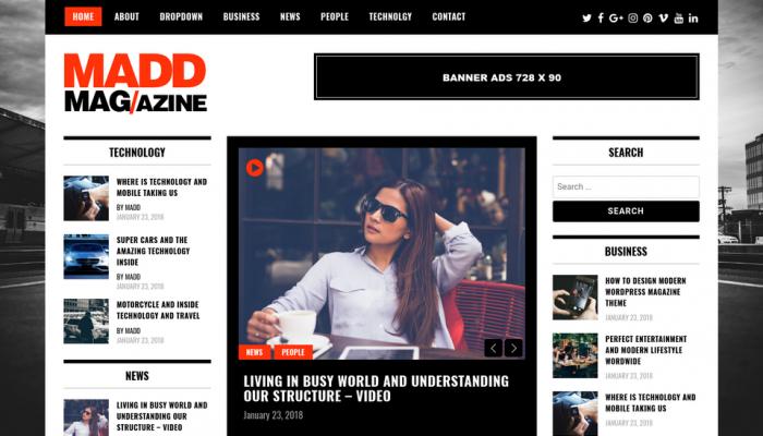 پیش نمایش دسکتاپ قالب وردپرس Madd Magazine