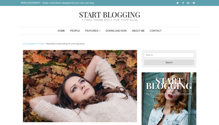پیش نمایش دسکتاپ قالب وردپرس Start Blogging