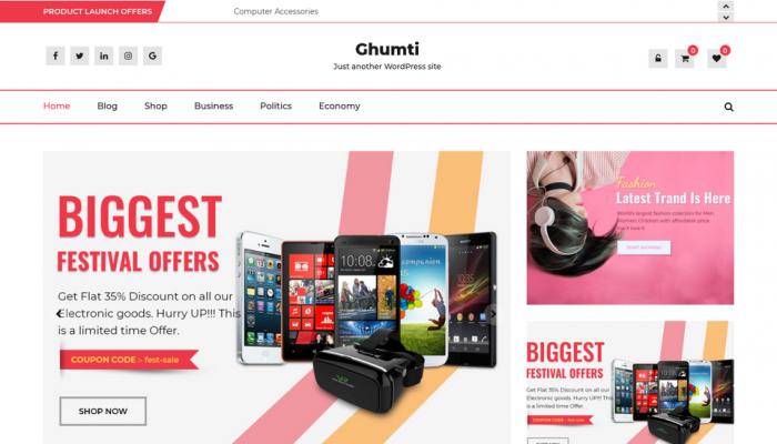 پیش نمایش دسکتاپ قالب وردپرس Ghumti