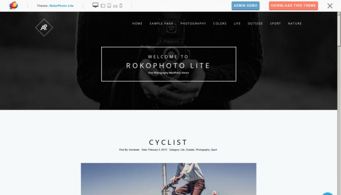 پیش نمایش دسکتاپ قالب وردپرس RokoPhoto Lite