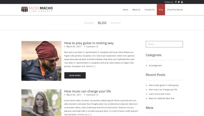 پیش نمایش دسکتاپ قالب وردپرس MusicMacho