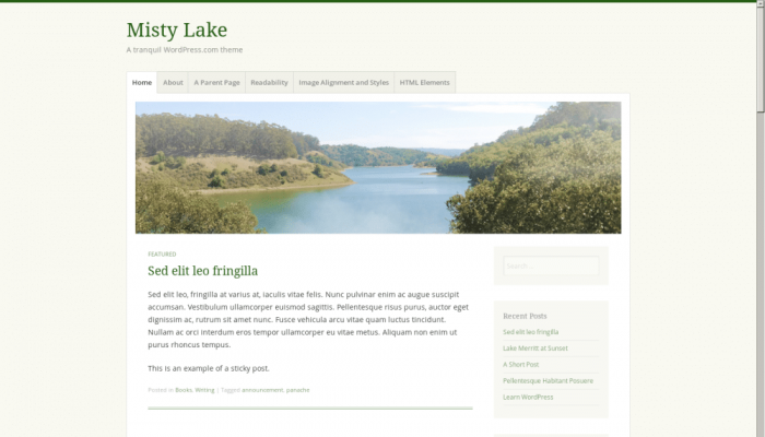 پیش نمایش دسکتاپ قالب وردپرس Misty Lake