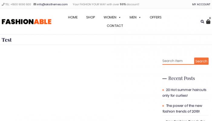پیش نمایش دسکتاپ قالب وردپرس Fashionable Store