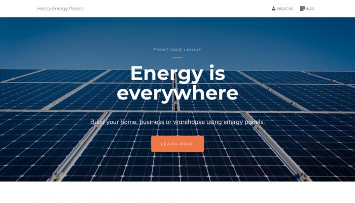 پیش نمایش دسکتاپ قالب وردپرس Hestia Energy Panels