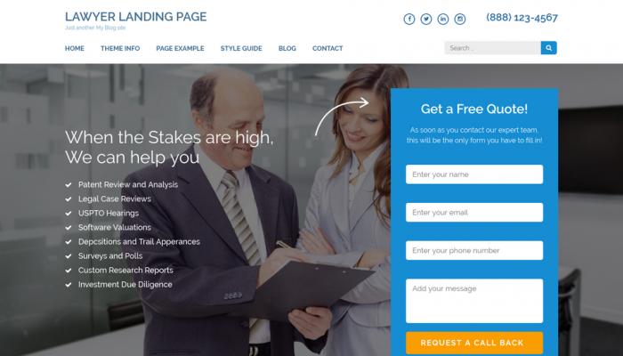 پیش نمایش دسکتاپ قالب وردپرس Lawyer Landing Page