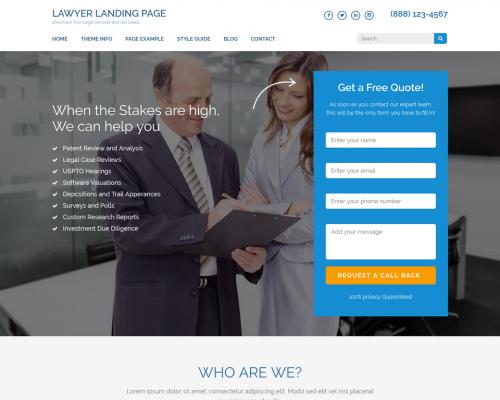 دانلود رایگان قالب وردپرس Lawyer Landing Page