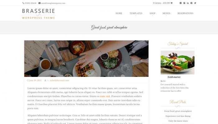 پیش نمایش دسکتاپ قالب وردپرس Brasserie