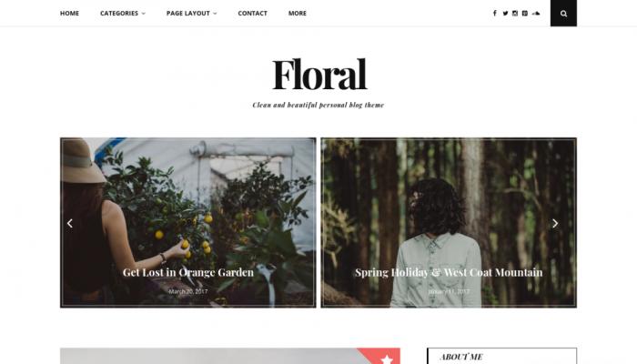 پیش نمایش دسکتاپ قالب وردپرس Floral Lite