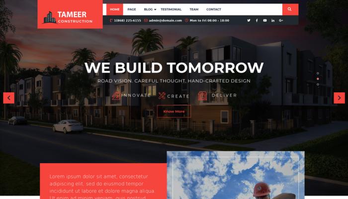 پیش نمایش دسکتاپ قالب وردپرس Tameer Construction