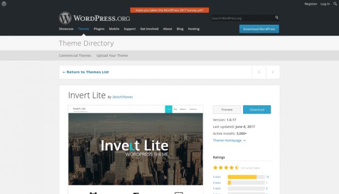 پیش نمایش دسکتاپ قالب وردپرس Invert Lite