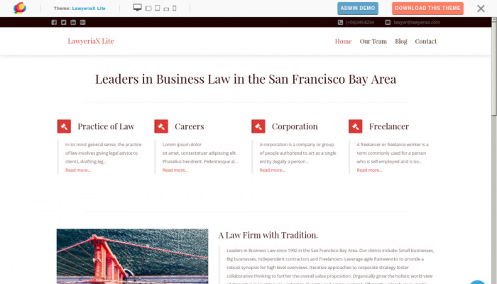 پیش نمایش دسکتاپ قالب وردپرس LawyeriaX Lite