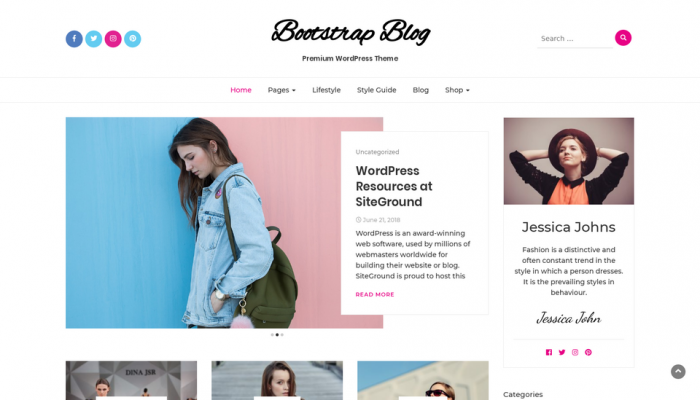 پیش نمایش دسکتاپ قالب وردپرس Bootstrap Blog