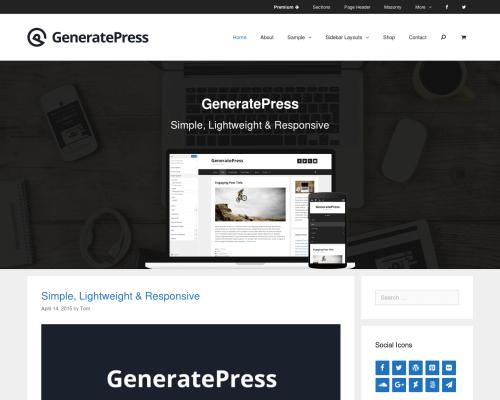 دانلود رایگان قالب وردپرس GeneratePress