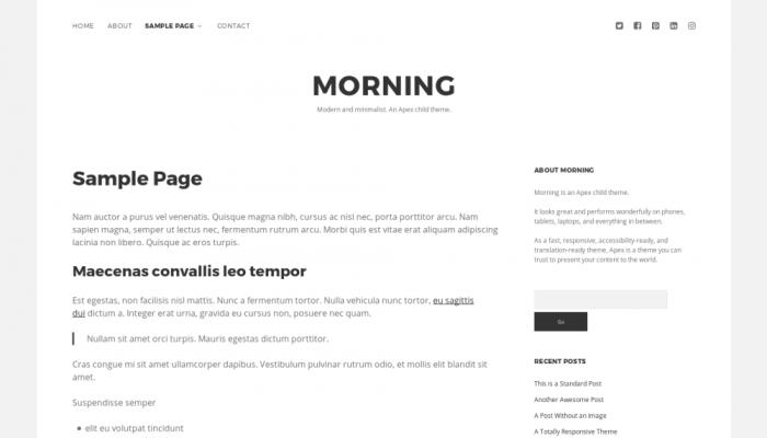 پیش نمایش دسکتاپ قالب وردپرس Morning (CT of Apex)