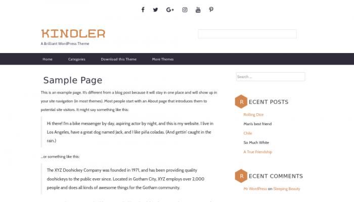 پیش نمایش دسکتاپ قالب وردپرس Kindler