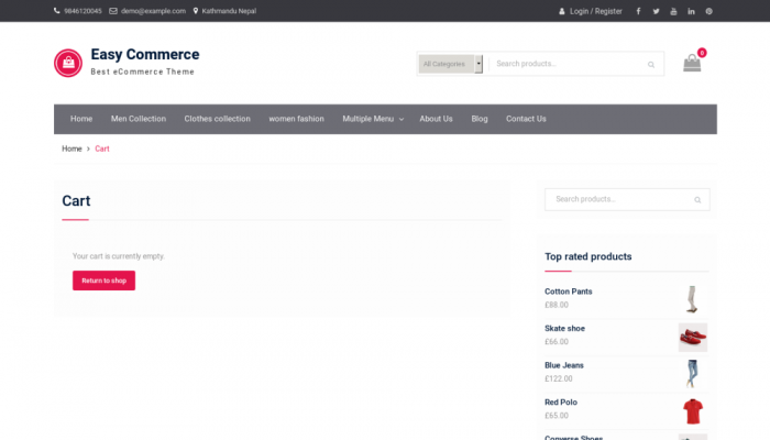 پیش نمایش دسکتاپ قالب وردپرس Easy Commerce