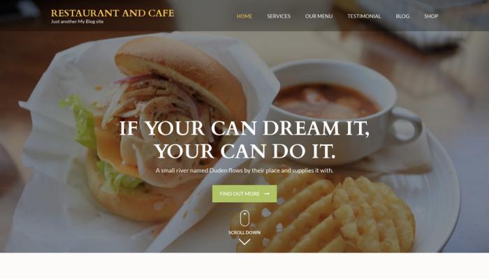 پیش نمایش دسکتاپ قالب وردپرس Restaurant and Cafe