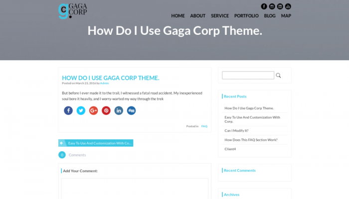 پیش نمایش دسکتاپ قالب وردپرس Gaga Corp