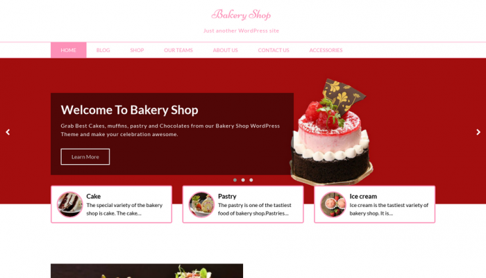 پیش نمایش دسکتاپ قالب وردپرس Bakery Shop