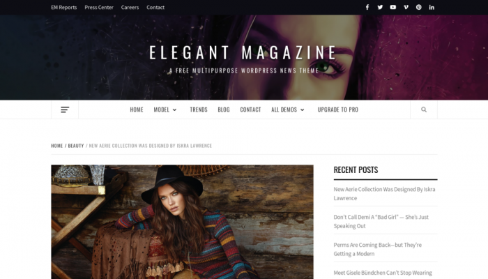 پیش نمایش دسکتاپ قالب وردپرس Elegant Magazine