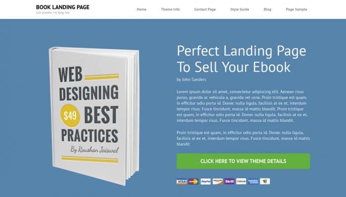 پیش نمایش دسکتاپ قالب وردپرس Book Landing Page