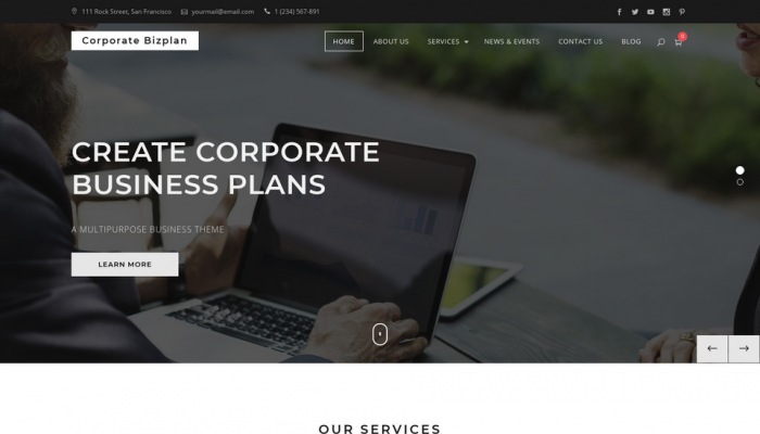 پیش نمایش دسکتاپ قالب وردپرس Corporate Bizplan